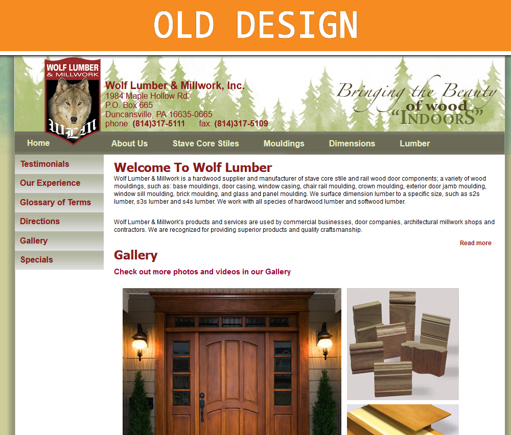 Wolf Lumber Website Old